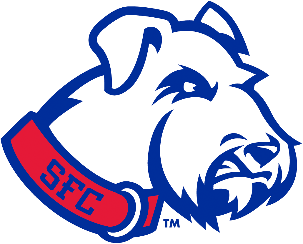 St. Francis Terriers Logo Alternate Logo (2014-Pres) - A terrier dog head wearing red collar featuring school initials SportsLogos.Net