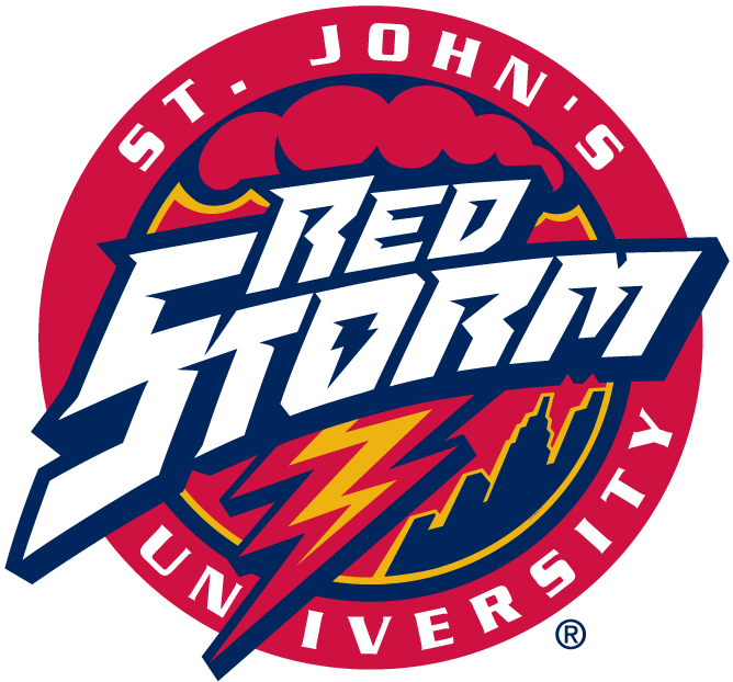St. Johns Red Storm Logo Primary Logo (1992-2001) - Red Storm script with lighting over skyline in a circle SportsLogos.Net