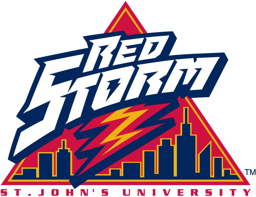 St. Johns Red Storm Logo Alternate Logo (1992-2001) - Red Storm script with lighting over skyline in a triangle  SportsLogos.Net