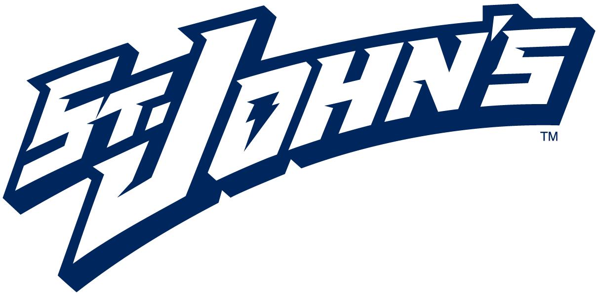 St. Johns Red Storm Logo Wordmark Logo (1995-2003) - St. John's in white with shadow SportsLogos.Net