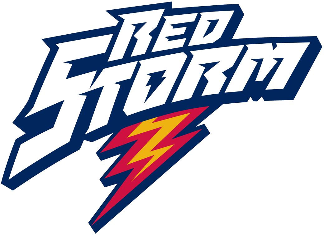 St. Johns Red Storm Logo Wordmark Logo (1992-2003) - Red Storm with red lightning bolt SportsLogos.Net