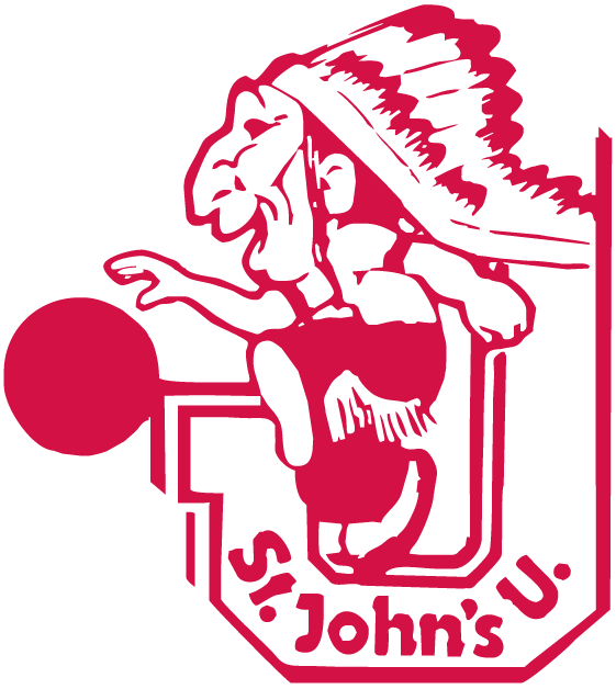 St. Johns Red Storm Logo Alternate Logo (1965-1979) - Inidan dribling a basketball on a J SportsLogos.Net