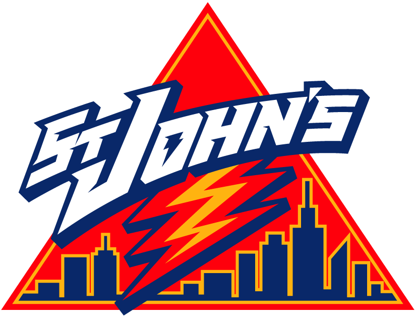 St. Johns Red Storm Logo Primary Logo (2002-2003) - St John's script with lighting over skyline in a triangle SportsLogos.Net