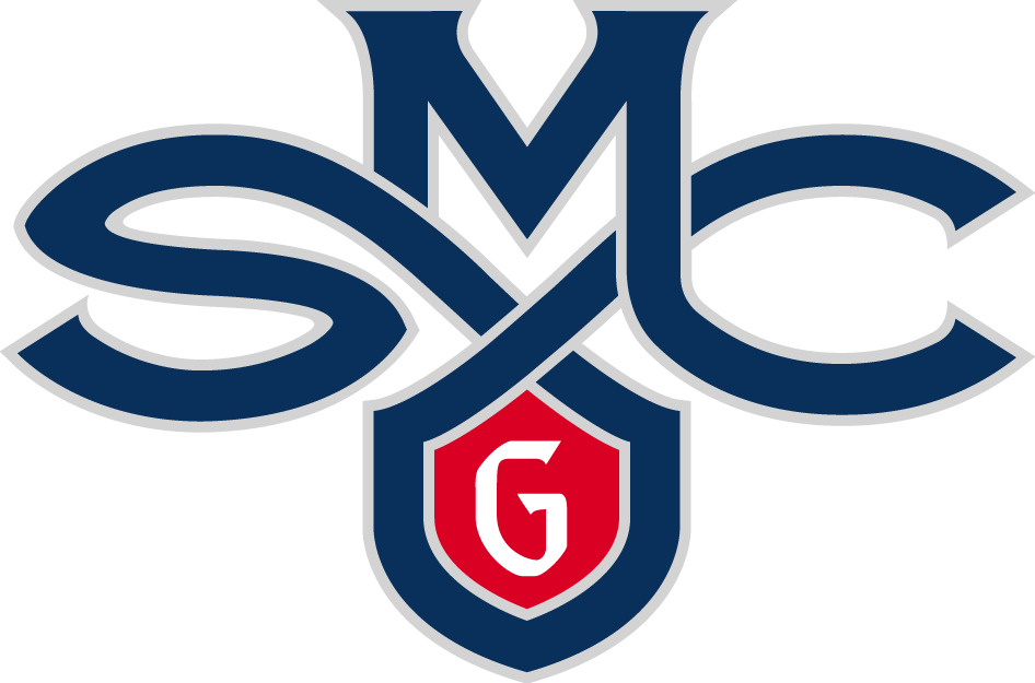 Saint Marys Gaels Logo Primary Logo (2007-Pres) - Blue SMC with a red shield with a white G SportsLogos.Net