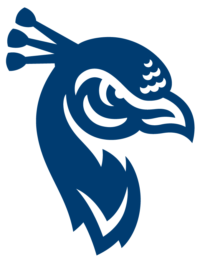 Saint Peters Peacocks Logo Primary Logo (2020-Pres) - Saint Peter's redesigned their entire athletic logo program in the Summer of 2020, including this new primary peacock logo. The peacock mascot logo was reimagined with inspiration from its most recent iteration, as well as a callback to one of the earliest iterations of the mascot. The peacock now includes a look of determination with three crest feathers symbolizing the holy trinity found on the University seal. SportsLogos.Net