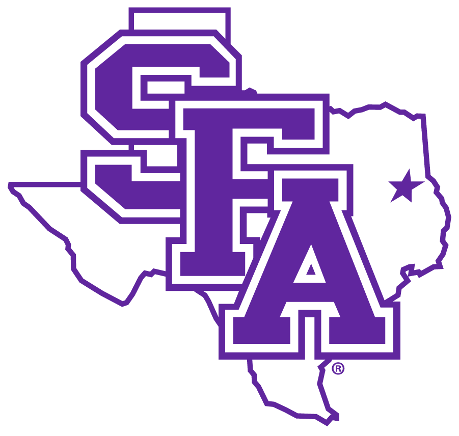 Stephen F. Austin Lumberjacks Logo Primary Logo (2020-Pres) - SFA in purple collegiate style lettering on a state of Texas with a star showing the campus location SportsLogos.Net