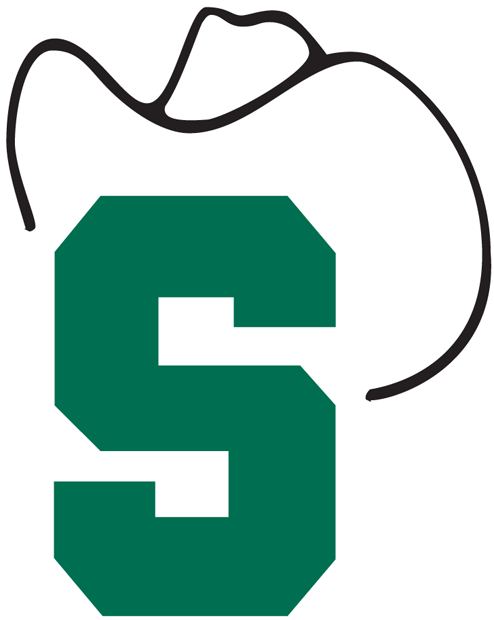 Stetson Hatters Logo Primary Logo (1978-1994) - Green S with white cowboy hat SportsLogos.Net
