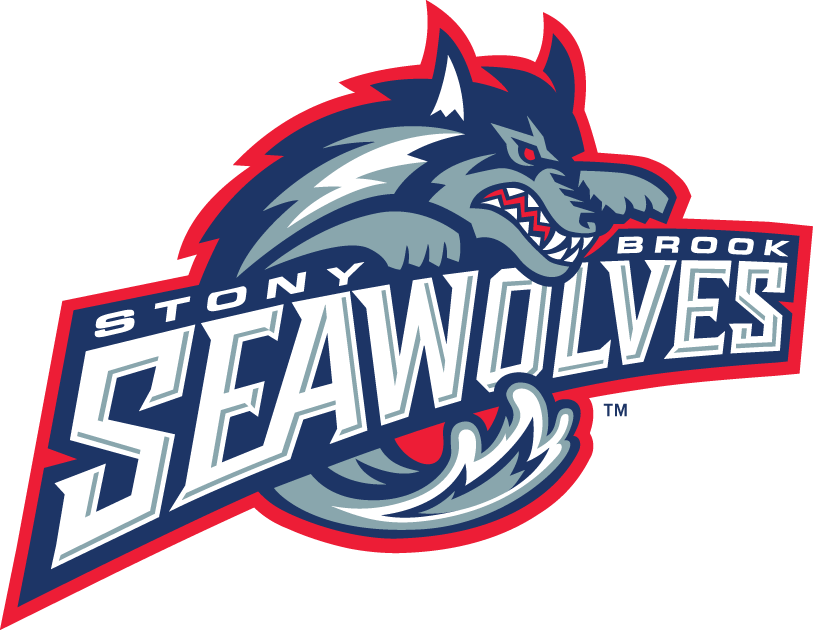 Stony Brook Seawolves Logo Primary Logo (1998-2007) - Wave forming body of a wolf over script SportsLogos.Net