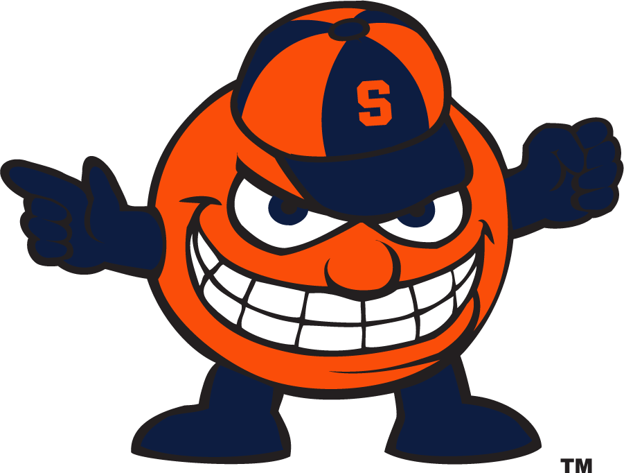 Syracuse Orange Logo Mascot Logo (2009-2015) - Mascot Aggressive Otto with orange Block S on hat. The previous version used a white Block S and the sections of that hat were positioned differently. SportsLogos.Net