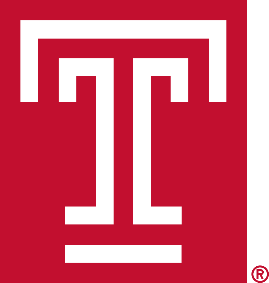 Temple Owls Logo Primary Logo (1983-1996) - White T in box mark. Designed by students in a graphic arts and design class in the Tyler School of Art in 1983, the T represents strength and positive character, with open ends that are symbolic of the free exchange of ideas that is the hallmark of a Temple education. SportsLogos.Net