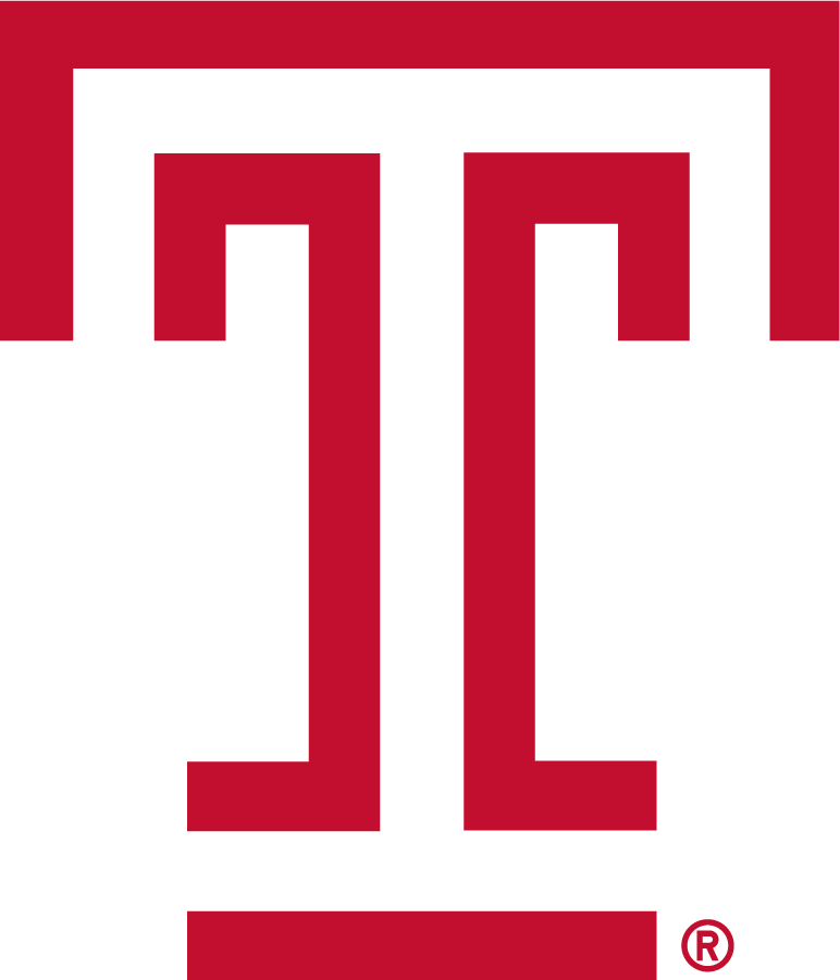 Temple Owls Logo Alternate Logo (1983-1996) - T mark in red. Designed by students in a graphic arts and design class in the Tyler School of Art in 1983, the T represents strength and positive character, with open ends that are symbolic of the free exchange of ideas that is the hallmark of a Temple education. SportsLogos.Net