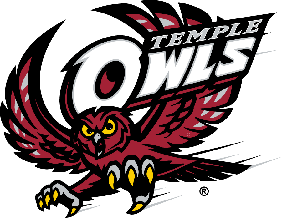 Temple Owls Logo Primary Logo (1996-2014) - Flying red owl with TEMPLE OWLS and T mark in left wing. SportsLogos.Net