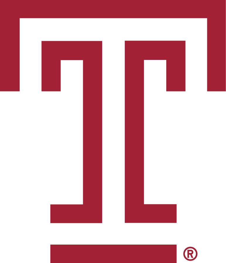 Temple Owls Logo Primary Logo (2020-Pres) - T mark in cherry red (Pantone 201C). SportsLogos.Net