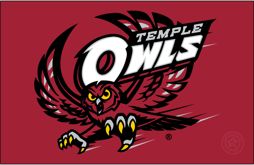 Temple Owls Logo Primary Dark Logo (2014-2017) - Flying red owl with TEMPLE OWLS. The font of the TEMPLE and O of OWLS is slightly different from previous version. SportsLogos.Net