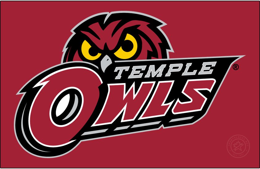 Temple Owls Logo Primary Dark Logo (2017-2020) - Red owl head behind TEMPLE OWLS in silver and red. Was previously the Secondary. SportsLogos.Net