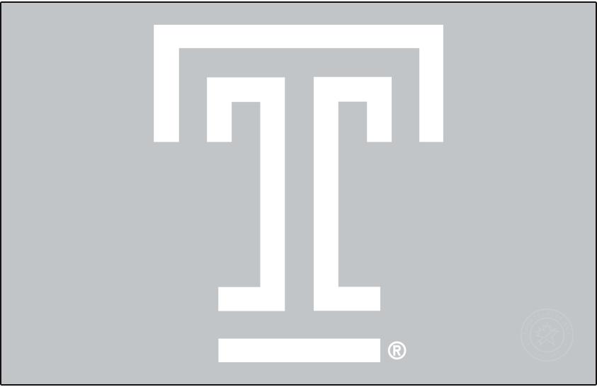 Temple Owls Logo Primary Dark Logo (2020-Pres) - T mark in white on silver. SportsLogos.Net