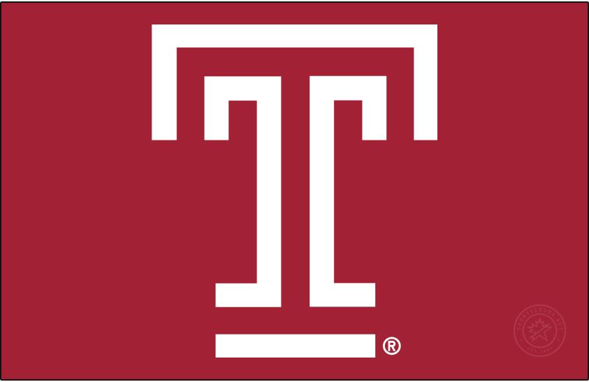 Temple Owls Logo Primary Dark Logo (2020-Pres) - T mark in white on cherry red (Pantone 201C). SportsLogos.Net