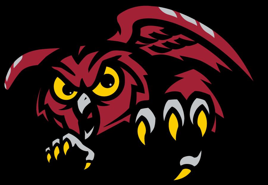 Temple Owls Logo Secondary Logo (1996-2020) - Front-facing red owl. SportsLogos.Net