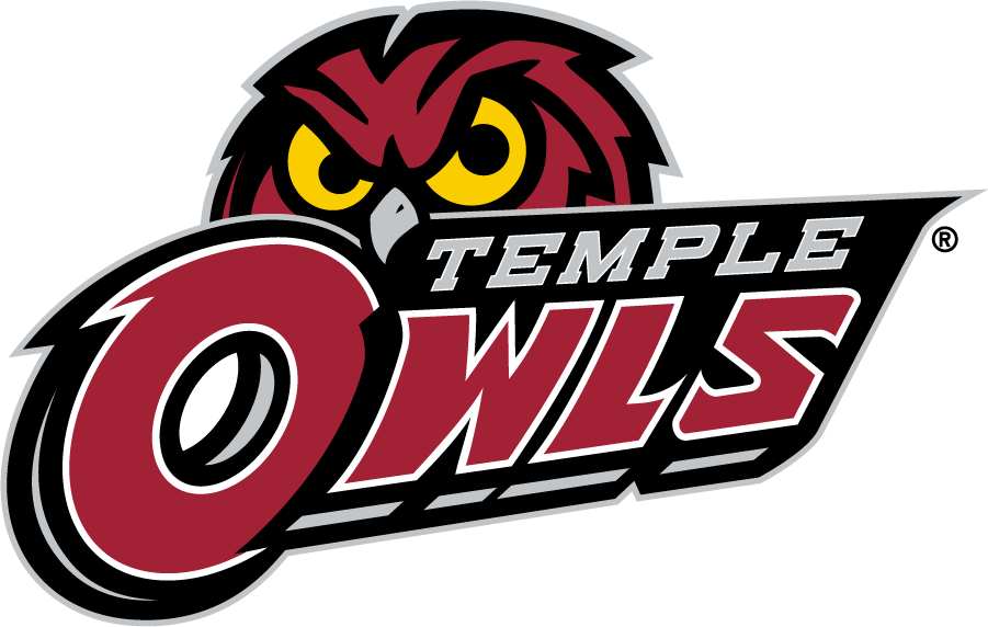 Temple Owls Logo Secondary Logo (2014-2017) - Red owl head behind TEMPLE OWLS in silver and red. SportsLogos.Net