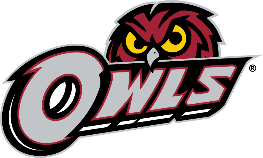 Temple Owls Logo Secondary Logo (2014-2020) - Red owl head behind OWLS in silver. SportsLogos.Net