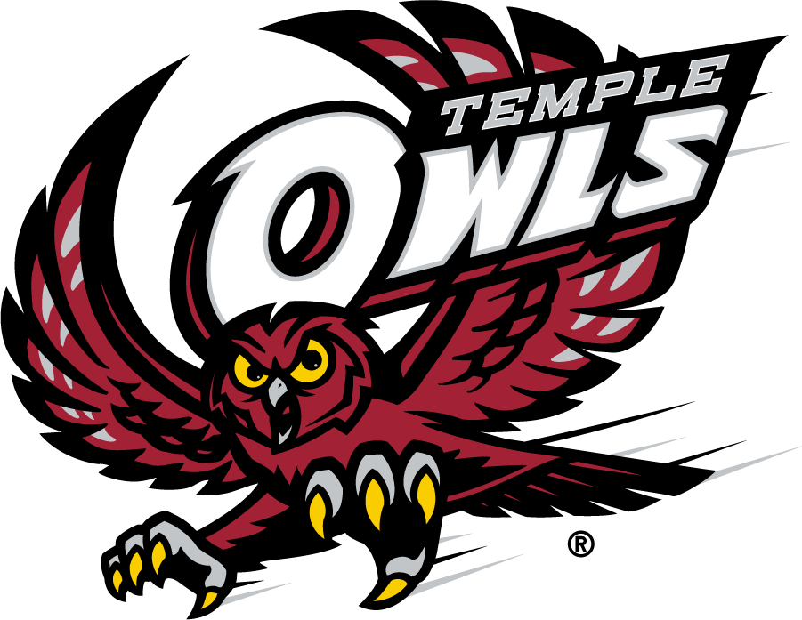 Temple Owls Logo Secondary Logo (2017-2020) - Flying red owl with TEMPLE OWLS. Was previously the Primary. SportsLogos.Net