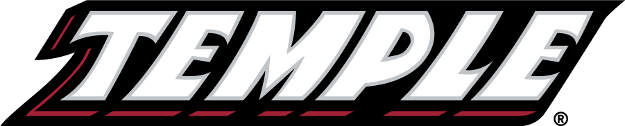 Temple Owls Logo Wordmark Logo (1996-2014) - Slanted TEMPLE wordmark in white. SportsLogos.Net