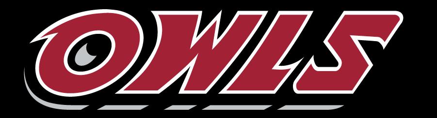 Temple Owls Logo Wordmark Logo (1996-2014) - Slanted OWLS wordmark in red. SportsLogos.Net