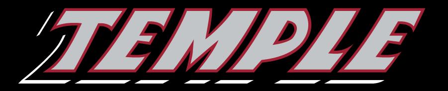 Temple Owls Logo Wordmark Logo (1996-2014) - Slanted TEMPLE wordmark in silver. SportsLogos.Net