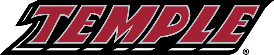 Temple Owls Logo Wordmark Logo (1996-2014) - Slanted TEMPLE wordmark in red. SportsLogos.Net