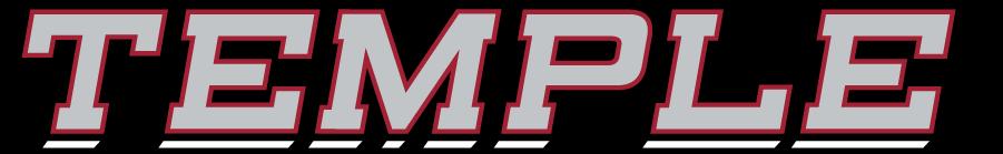 Temple Owls Logo Wordmark Logo (2014-2020) - Slanted TEMPLE wordmark in silver and red. SportsLogos.Net
