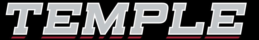 Temple Owls Logo Wordmark Logo (2014-2020) - Slanted TEMPLE wordmark in silver. SportsLogos.Net