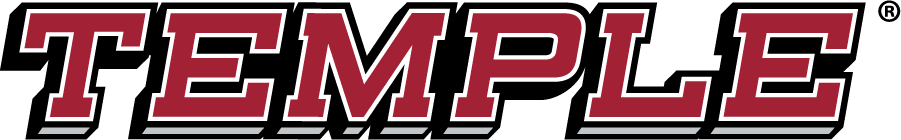 Temple Owls Logo Wordmark Logo (2014-2020) - Slanted TEMPLE wordmark in red. SportsLogos.Net