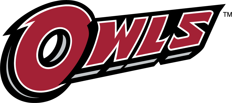 Temple Owls Logo Wordmark Logo (2014-2020) - Slanted OWLS wordmark in red. SportsLogos.Net