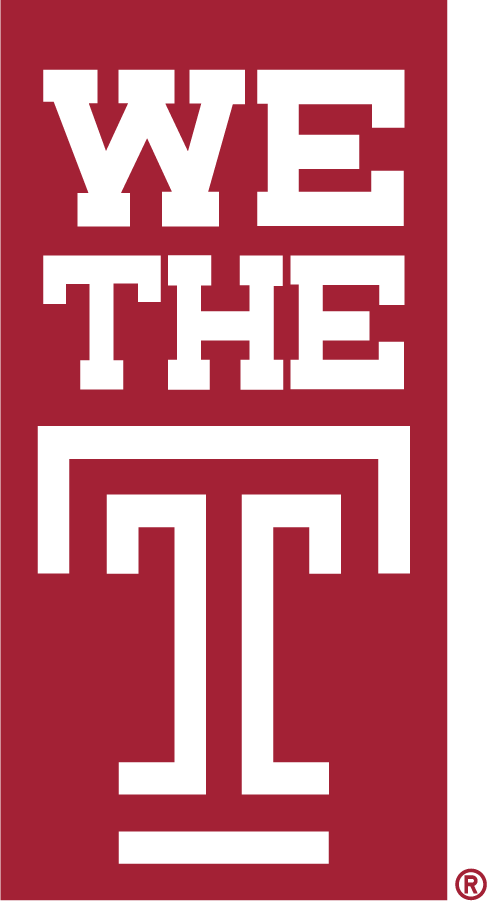 Temple Owls Logo Wordmark Logo (2015-2020) - Stacked We The T mark in red box. SportsLogos.Net
