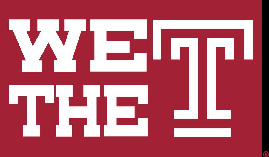Temple Owls Logo Wordmark Logo (2017-2020) - Horizontal We The T mark in red box. SportsLogos.Net