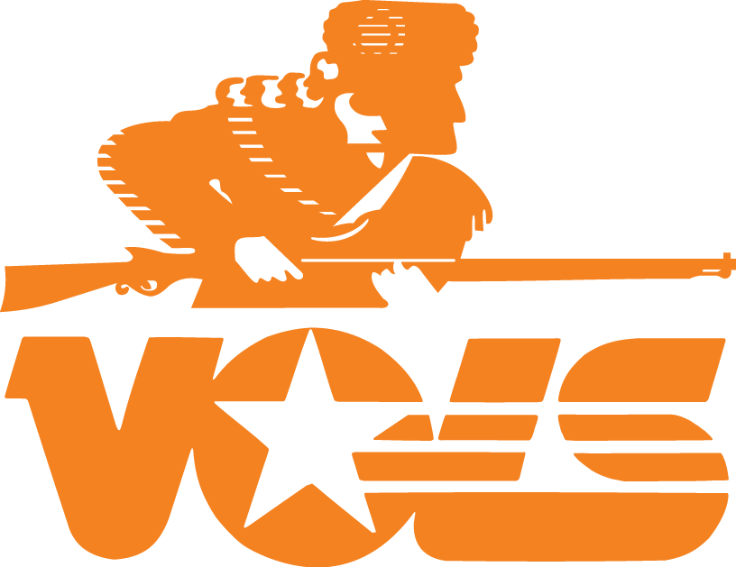 Tennessee Volunteers Logo Primary Logo (1983-1996) - Orange sillouetted hunter with coon skin cap over script SportsLogos.Net