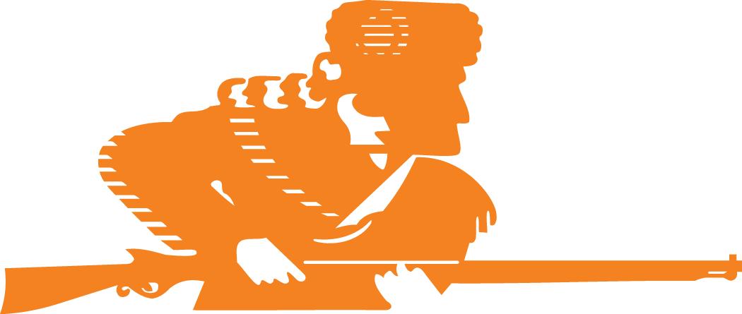 Tennessee Volunteers Logo Alternate Logo (1983-1996) - Orange sillouetted hunter with coon skin cap SportsLogos.Net