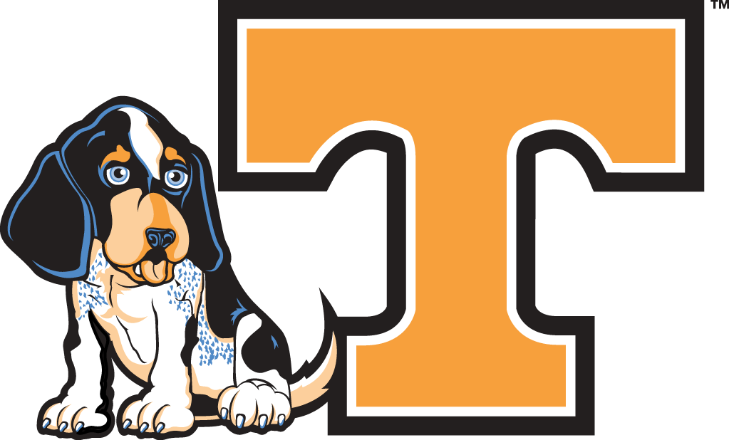 Tennessee Volunteers Logo Misc Logo (2005-Pres) - Youth Mark - Mascot Smokey next to an Orange T with black outline SportsLogos.Net