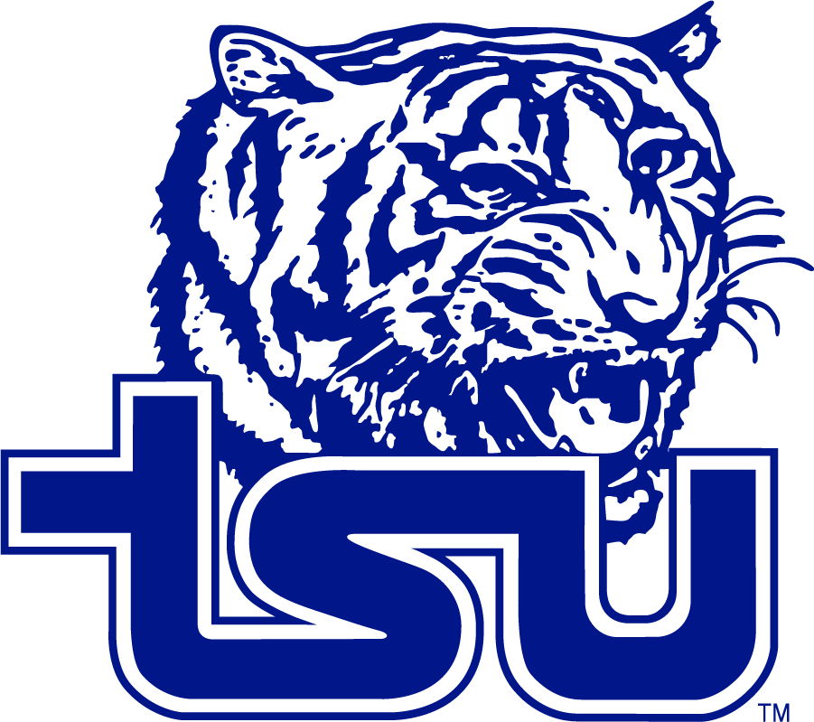 Tennessee State Tigers Logo Primary Logo (1985-2004) - Single-color Tiger Head over blue TSU Snake.  SportsLogos.Net