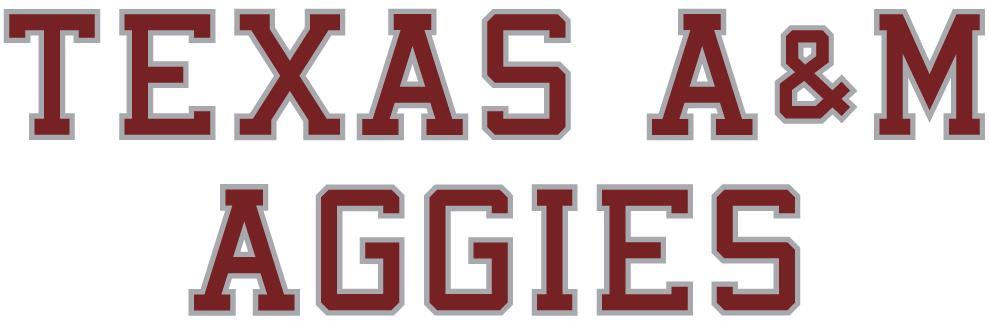 Texas A&M Aggies Logo Wordmark Logo (2001-Pres) - Texas A&M Aggies maroon text with silver outline SportsLogos.Net