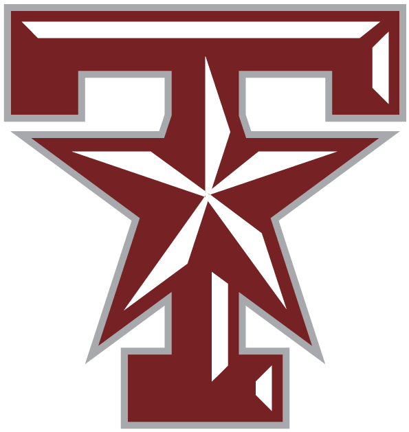 Texas A&M Aggies Logo Alternate Logo (2001-Pres) - A maroon beveled T and star with silver outlinel. SportsLogos.Net