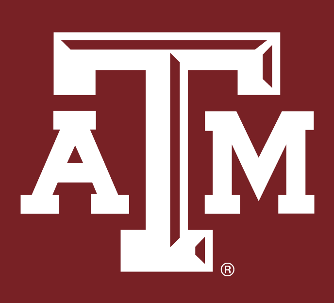 Texas A&M Aggies Logo Alternate Logo (2007-Pres) - White ATM letters with maroon beveling on the T, on maroon background. SportsLogos.Net