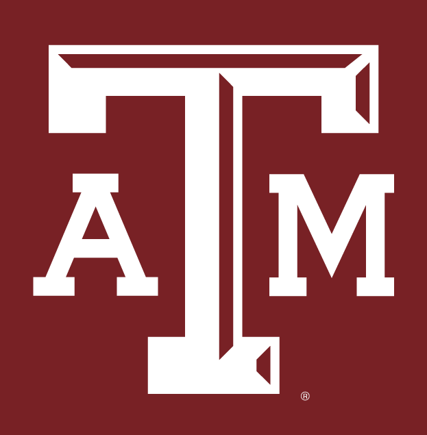Texas A&M Aggies Logo Alternate Logo (2001-2006) - White ATM letters with maroon beveling on the T, on maroon background.  SportsLogos.Net