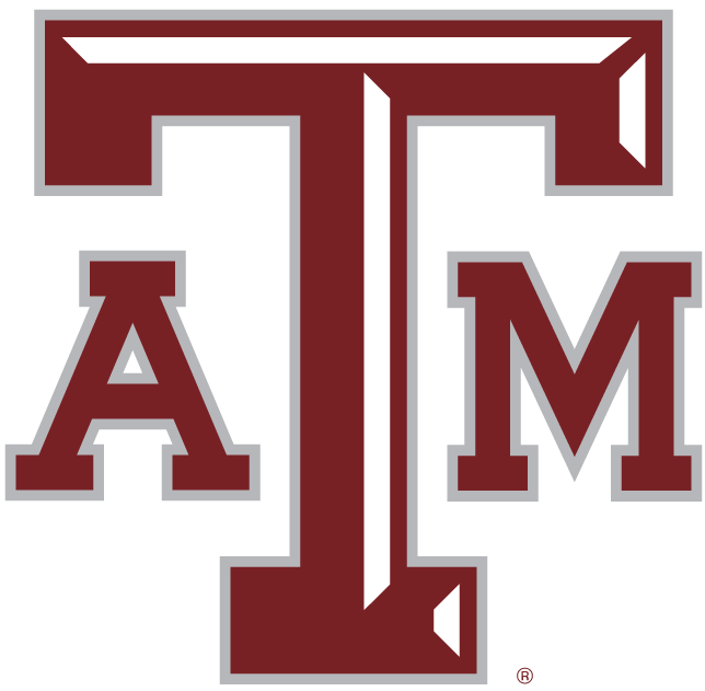 Texas A&M Aggies Logo Primary Logo (2001-2006) - Maroon ATM letters with a silver outline and white beveling on the T. SportsLogos.Net