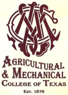 Texas A&M Aggies Logo Primary Logo (1876-1907) - Intertwined stylized letters A, M, and C above text. SportsLogos.Net