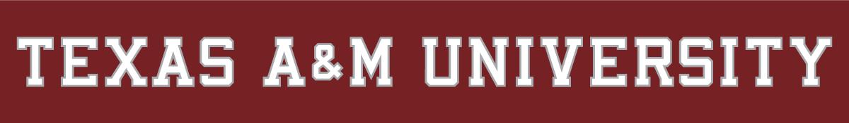 Texas A&M Aggies Logo Wordmark Logo (2001-Pres) - Texas A&M University white text with silver outline on maroon background SportsLogos.Net