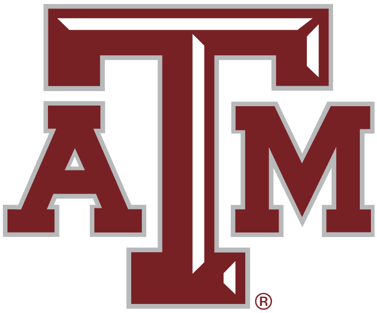 Texas A&M Aggies Logo Primary Logo (2007-Pres) - Maroon ATM letters with white beveling on the T. SportsLogos.Net