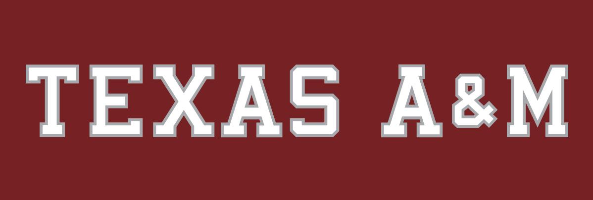 Texas A&M Aggies Logo Wordmark Logo (2001-Pres) - Texas A&M white text with silver outline on maroon background SportsLogos.Net
