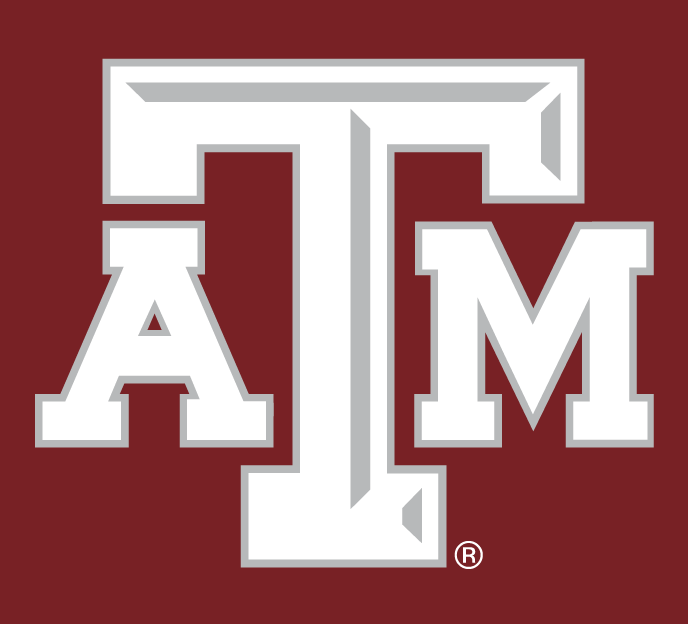 Texas A&M Aggies Logo Alternate Logo (2007-Pres) - White ATM letters with silver outline and silver beveling on the T, on maroon background.  SportsLogos.Net