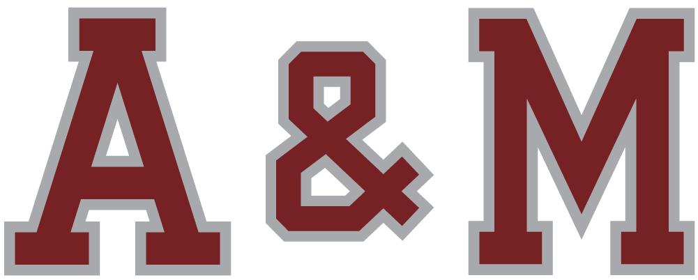 Texas A&M Aggies Logo Wordmark Logo (2001-Pres) - A&M maroon text with silver outline SportsLogos.Net